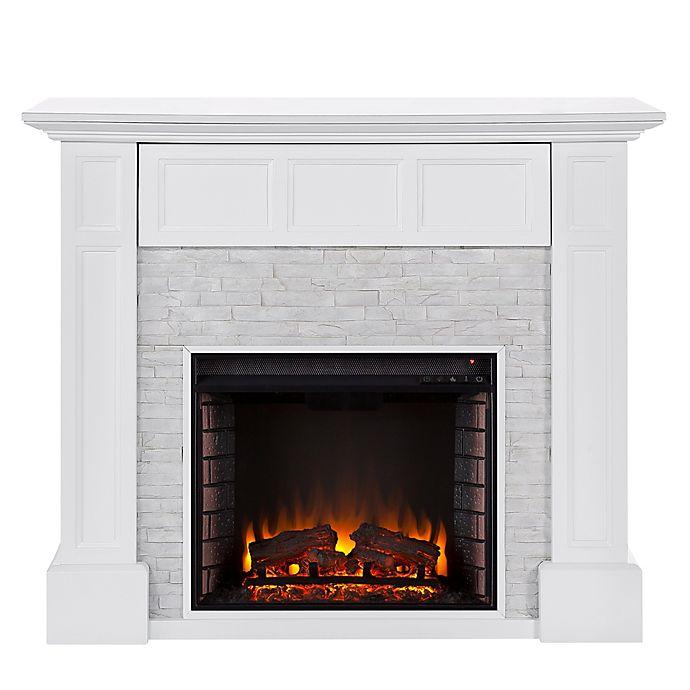 Alternate image 1 for Southern Enterprises Broyleston Faux Stone Infared Electric Media Fireplace in White