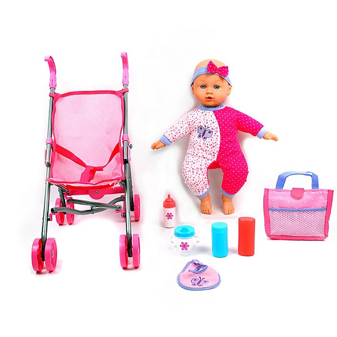 Alternate image 1 for Dream Collection 14-Inch Baby Doll with Stroller Set