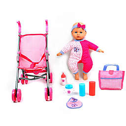 Dream Collection 14-Inch Baby Doll with Stroller Set