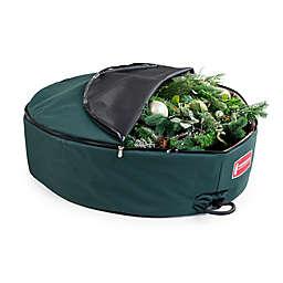 TreeKeeper 30-Inch Foam Lined Wreath Storage Bag in Green