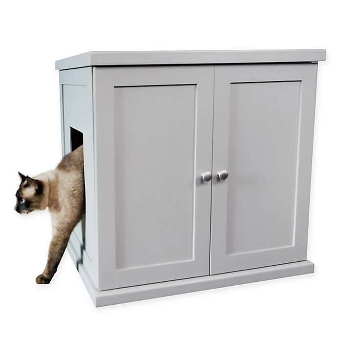 Alternate image 1 for Large Wooden Cat Litter Cabinet in Smoke
