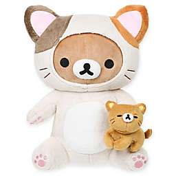 Rilakkuma™ Bear Dressed as Cat Playing with Kitty Plush Toy in Brown