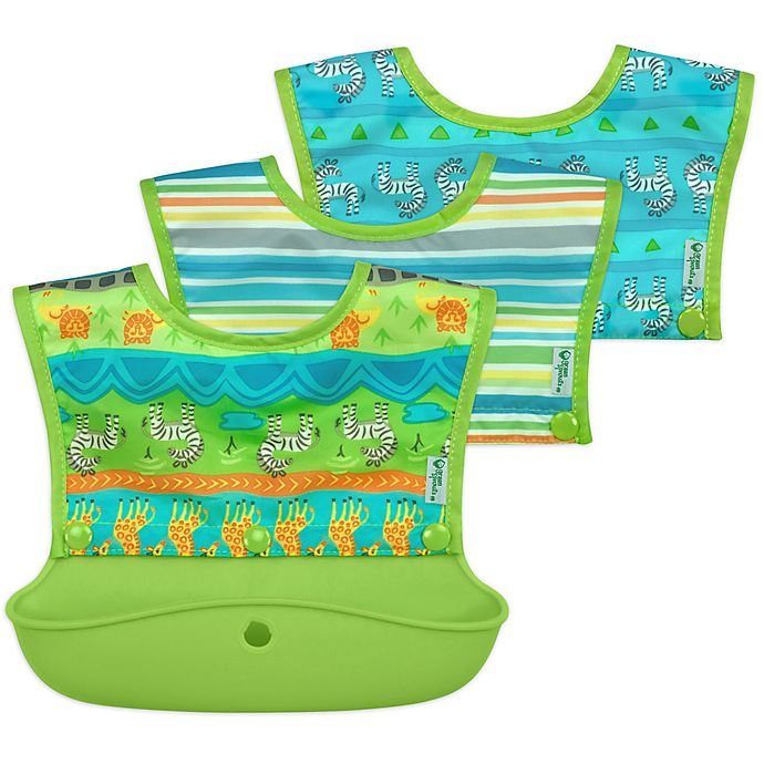 Alternate image 1 for green sprouts® 3-Pack Snap & Go Silicone Food Catcher Bibs
