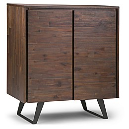 Simpli Home Lowry Medium Storage Cabinet in Distressed Charcoal/Brown