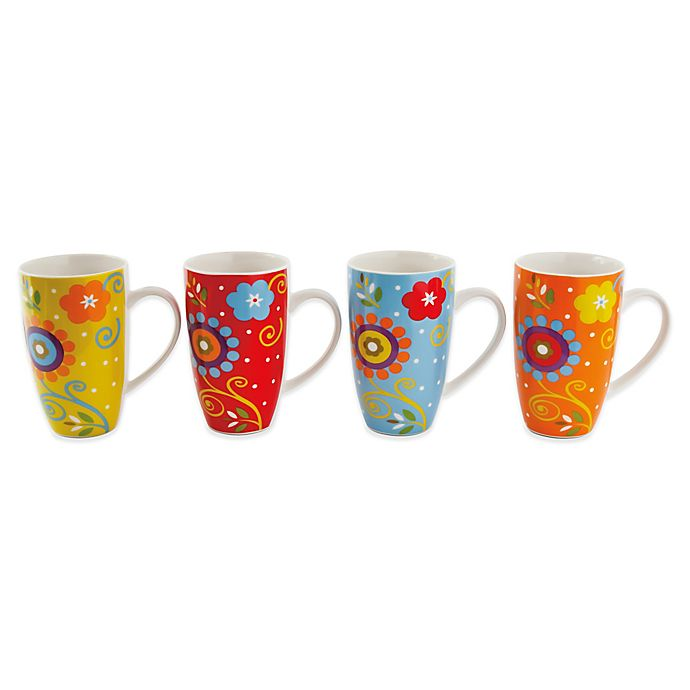 Maxwell Williams Flower Power 15 25 Oz Mugs Set Of 4 Bed