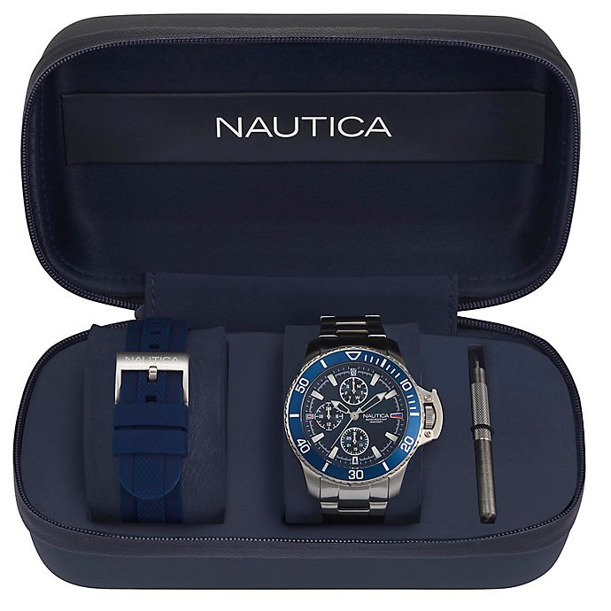Alternate image 1 for Nautica® Bayside Men's 45mm NAPBYS006 Chronograph Watch Box Set