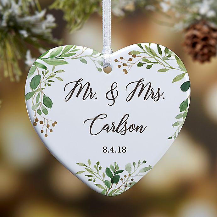 Alternate image 1 for 1-Sided Glossy Laurels of Love Personalized Wedding Ornament- Small
