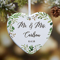 1-Sided Glossy Laurels of Love Personalized Wedding Ornament- Small