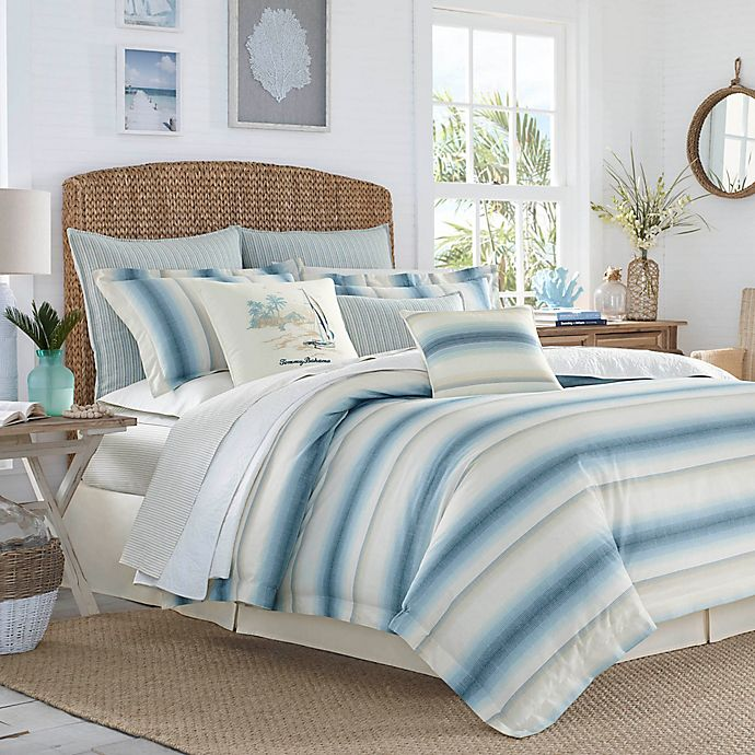 Alternate image 1 for Tommy Bahama® La Prisma Stripe Full/Queen Duvet Cover Set in Blue