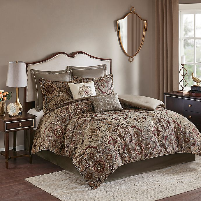 Alternate image 1 for Madison Park Hillrose Jacquard 8-Piece Queen Comforter Set in Red