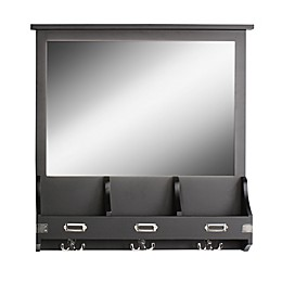 Kate and Laurel Stallard Wall Mirror with Hooks in Black