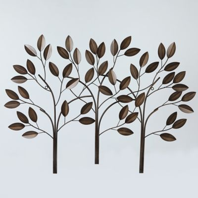 Stratton Home D Eacute Cor Patina Blowing Leaves 29 Inch X 17 Inch Metal Wall Art Bed Bath Beyond