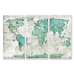 3-Piece World 15-Inch x 30-Inch Canvas Wall Art