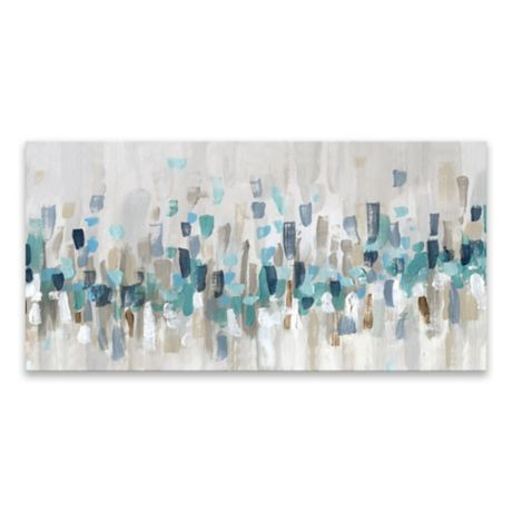 Blue Staccato 15 Inch X 30 Inch Canvas Wall Art Bed Bath