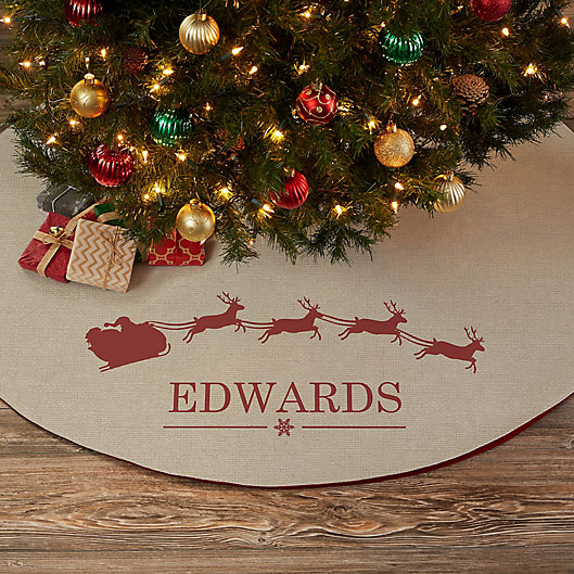 Alternate image 1 for Santa Sleigh Personalized Christmas Tree Skirt