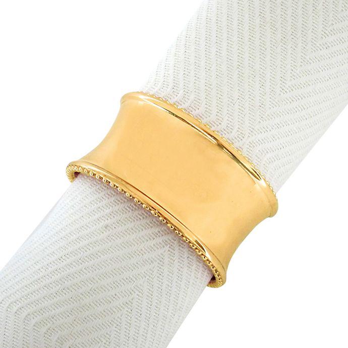 Alternate image 1 for Beaded Elegance Napkin Ring in Gold
