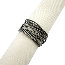 Twisted Wire Napkin Rings in Gunmetal (Set of 4)