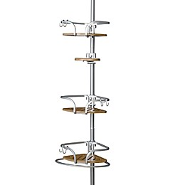 Titan® NeverRust® Aluminum/Bamboo Tension Pole Shower Caddy