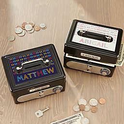 Stencil Name Personalized Cash Box in Black