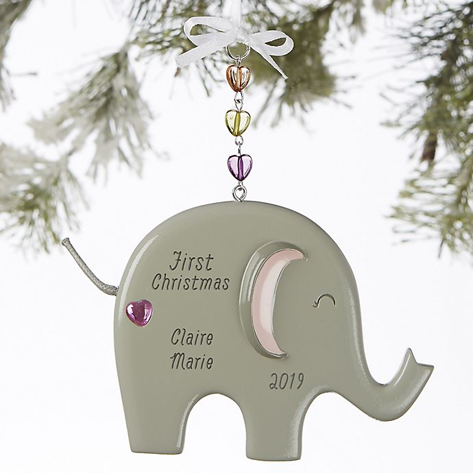 Alternate image 1 for Ellie the Elephant® Personalized Baby Girl Christmas Ornament