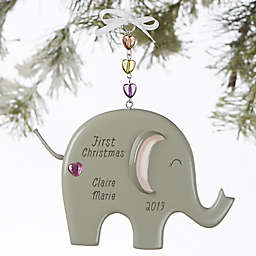 Ellie the Elephant® Personalized Baby Girl Christmas Ornament