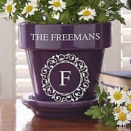 Circle & Vine Monogram Personalized Flower Pot- Purple