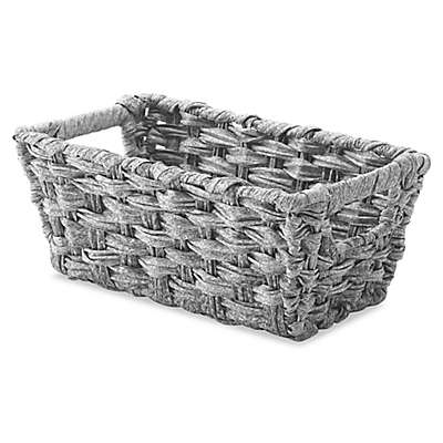 Whitmor Spit Rattique® Small Shelf Tote Basket in Grey