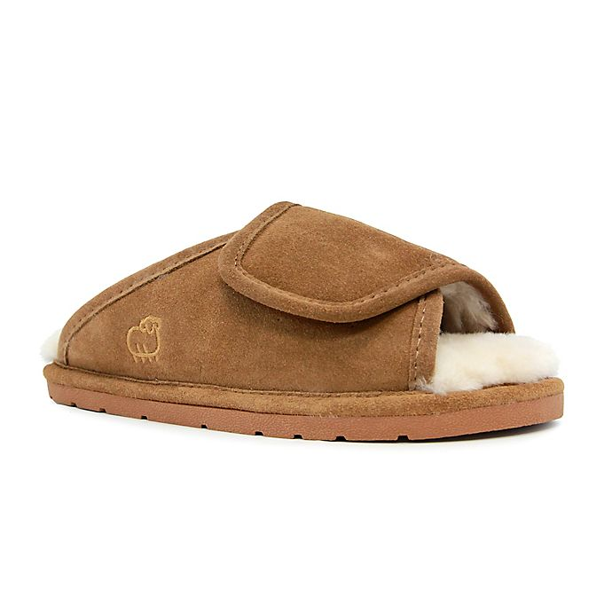 Alternate image 1 for Lamo® Luxury Women's Open-Toe Wrap Slippers in Chestnut