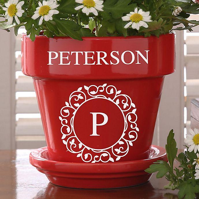 Alternate image 1 for Circle & Vine Monogram Personalized Flower Pot