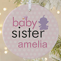 1-Sided Matte Big/Baby Brother & Sister Personalized Ornament- Large