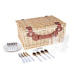 Insulated 22-Piece Wicker Picnic Basket for 4