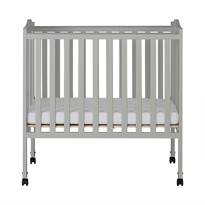finest selection 49367 5b6e6 Dream On Me 2-in-1 Lightweight Folding Portable Crib in Grey Pebble