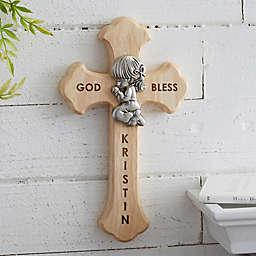 Prayerful Girl Personalized Wood Cross