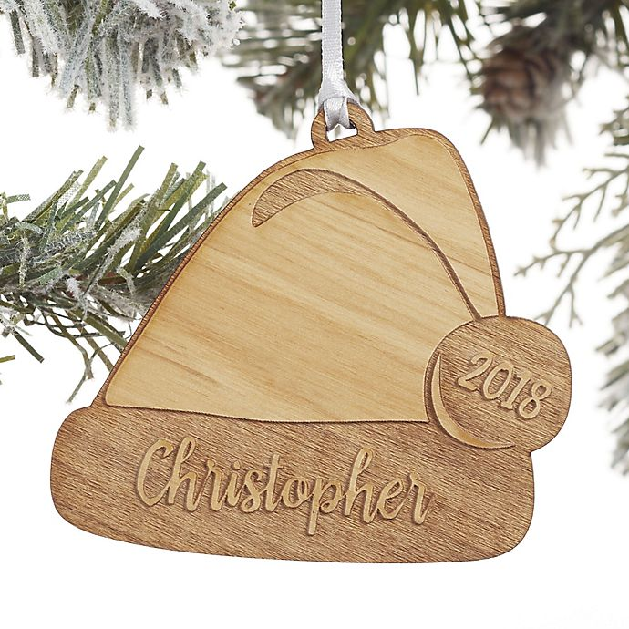 Alternate image 1 for Santa Hat Personalized Wood Christmas Ornament 8f0cf5fe173