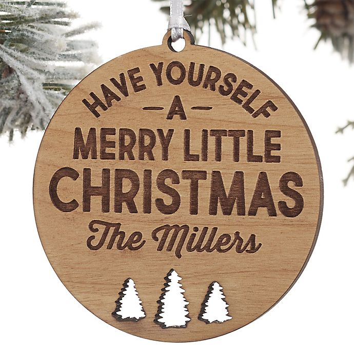 Alternate image 1 for Merry Little Christmas Personalized Wood Christmas Ornament