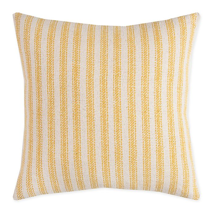 Alternate image 1 for Rizzy Home Ticking Chevron Square Throw PIllow in Natural/Grey