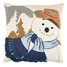 Rizzy Home Holiday Snowman Square Throw Pillow in Ivory