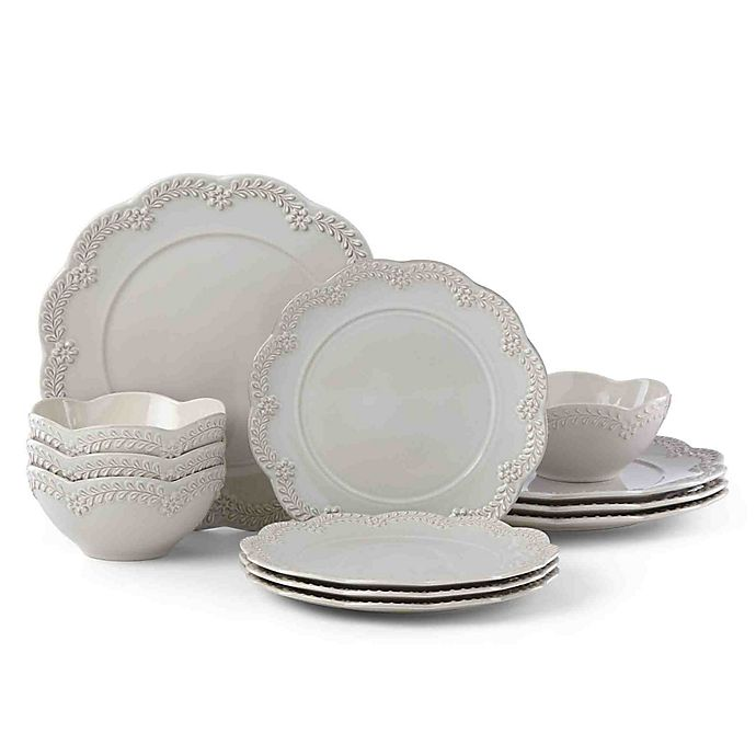 Alternate image 1 for Lenox® Chelse Muse Floral Grey™ 12-Piece Dinnerware Set