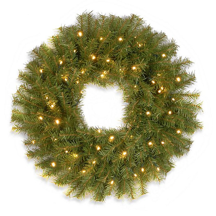 Alternate image 1 for National Tree Company Pre-Lit Norwood Fir Wreath with Battery Operated Warm White LED Lights