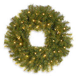 National Tree Company Pre-Lit Norwood Fir Wreath with Battery Operated Warm White LED Lights