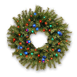 National Tree Norwood Fir Wreath Pre-Lit with Multicolored Lights and Timer