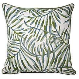 Tropical Leaves Square Throw Pillow in White