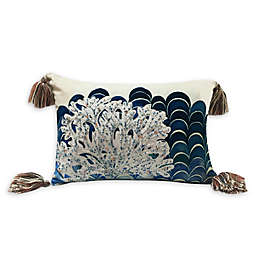 Beaded Coral Velvet Oblong Throw Pillow