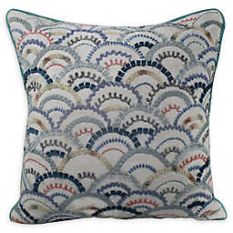 Fan Embroidered Square Throw Pillow