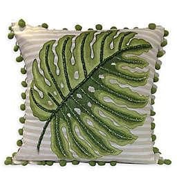 Center Palm Stripe Tassel Square Throw Pillow in White