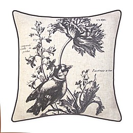 New York Botanical Garden Bird Embroidery Square Throw Pillow in Natural