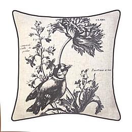 New York Botanical Garden Bird Embroidery Square Throw Pillow in Natural