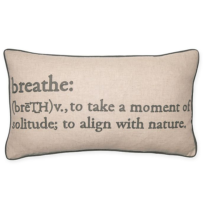 Alternate image 1 for Breathe Definition Oblong Throw Pillow in Grey