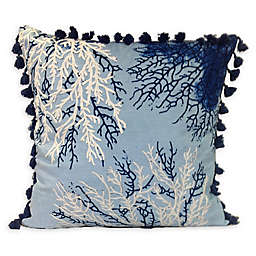 Coral Square Throw Pillow in Blue