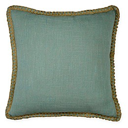Textured Solid Square Throw Pillow with Jute Border